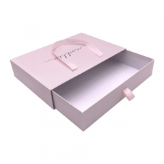 OEM Pink Cardboard Drawer Gift Box With Ribbon