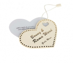 Custom Embossed Heart Shaped Paper Garment Clothing Hangtag With Gold Logo
