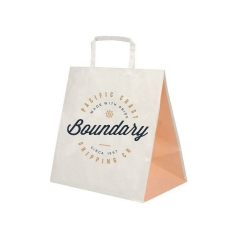 Eco Friendly Packaging Bag Recyclable Fast Food Kraft Paper Bag With Logos