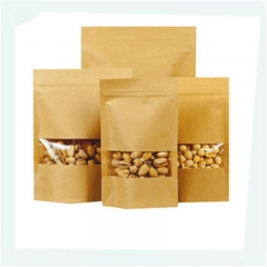 Recyclable stand up brown kraft paper bags with window and zipper