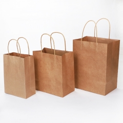 Recyclable kraft paper shopping bags